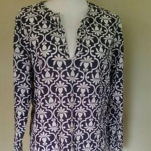 Lands end ladies cotton tunic dress navy print M
